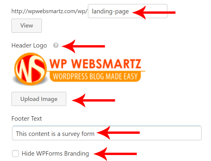 wordpress form landing page