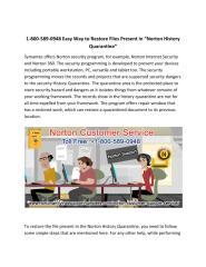 "Easy Way to Restore Files Present in ""Norton History Quarantine"".pdf"