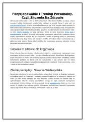 Pozycjonowanie I Trening Personalny, Czyli Siłownia Na Zdrowie.doc