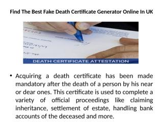 Find The Best Fake Death Certificate Generator Online In UK.pptx